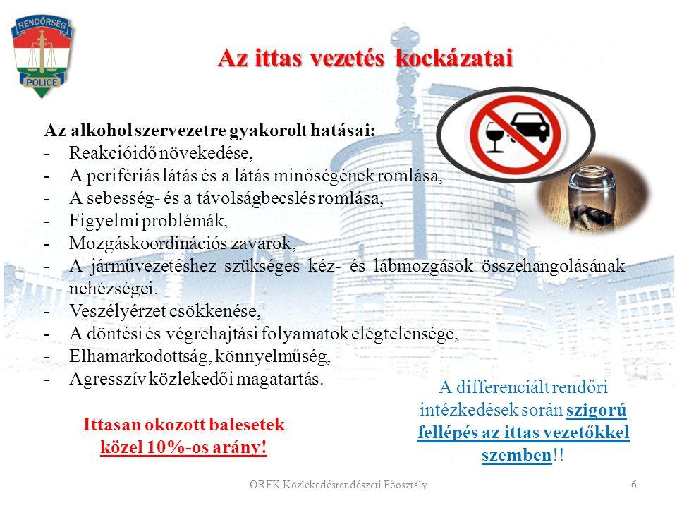 Az alkohol szervezetre gyakorolt hatásai: -Reakcióidő növekedése, -A perifériás látás és a látás minőségének romlása, -A sebesség- és a távolságbecslés romlása, -Figyelmi problémák, -Mozgáskoordinációs zavarok, -A járművezetéshez szükséges kéz- és lábmozgások összehangolásának nehézségei.
