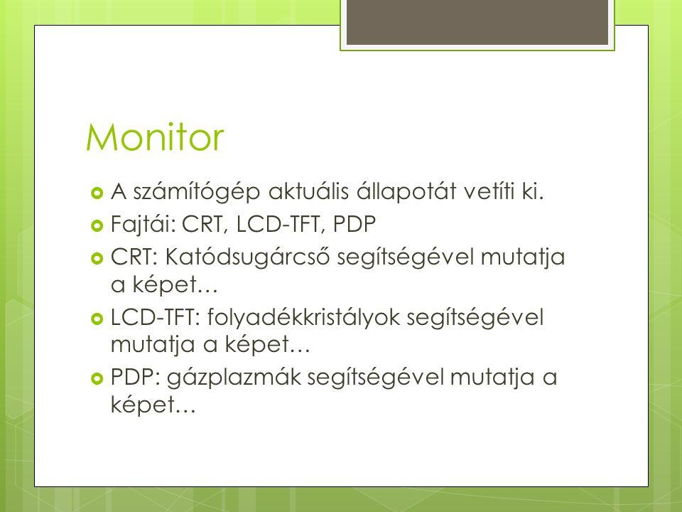 Monitor  A számítógép aktuális állapotát vetíti ki.