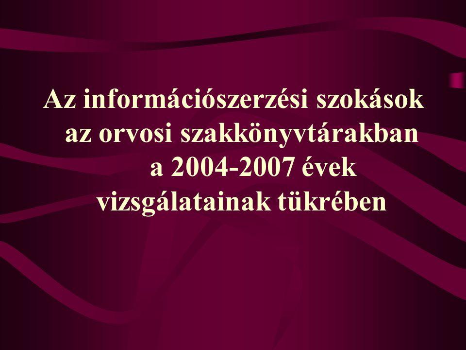 Az információszerzési szokások az orvosi szakkönyvtárakban a 2004-2007 évek vizsgálatainak tükrében