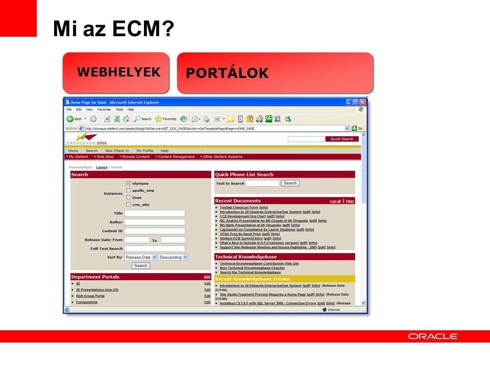 Corporate Internet SiteIntranets / Extranets 6 Mi az ECM WEBHELYEK PORTÁLOK