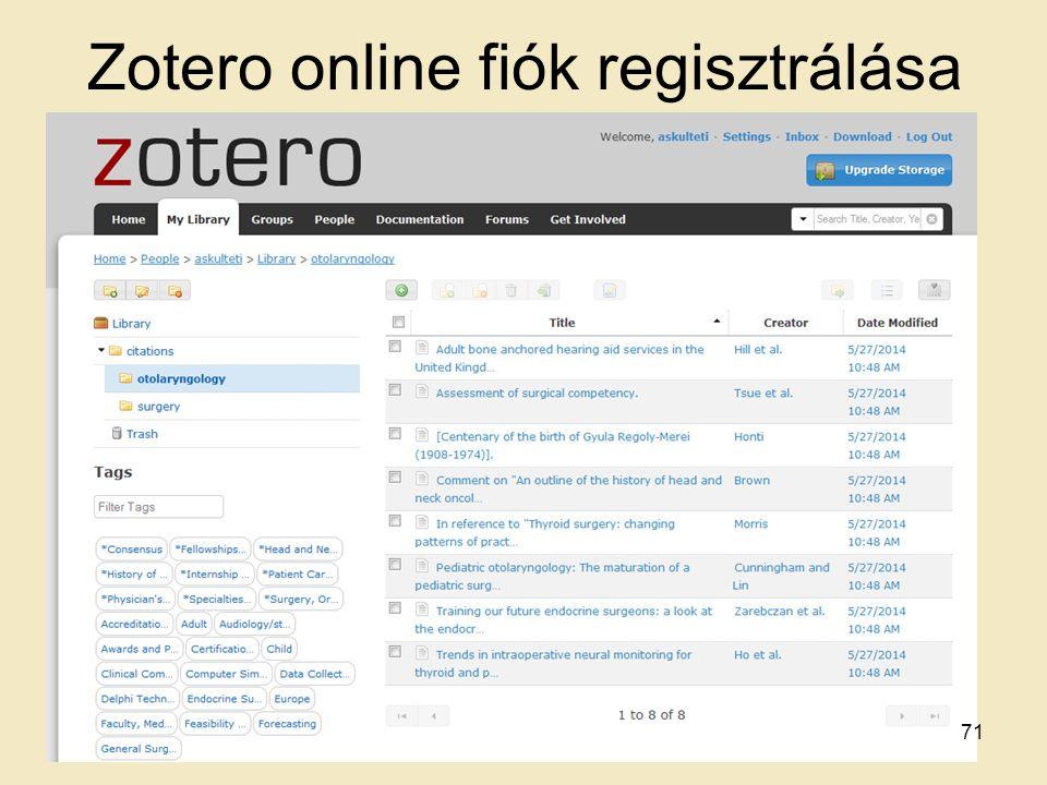 Zotero online fiók regisztrálása 71