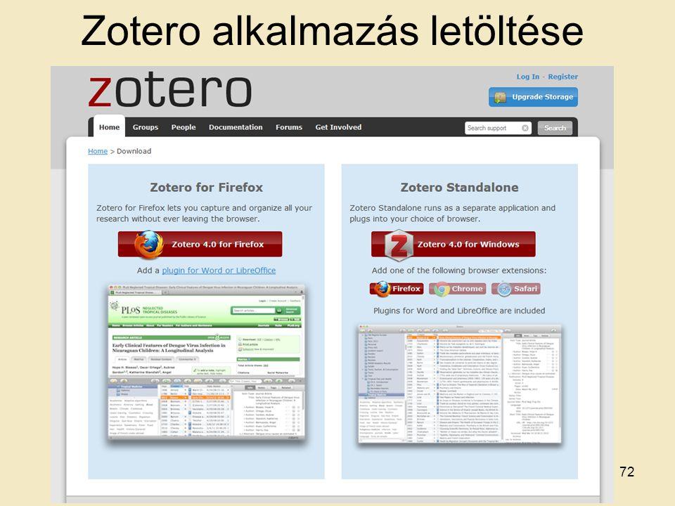 Zotero alkalmazás letöltése 72