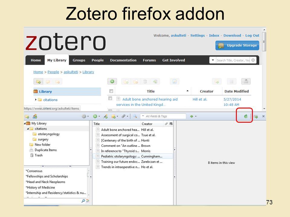 Zotero firefox addon 73
