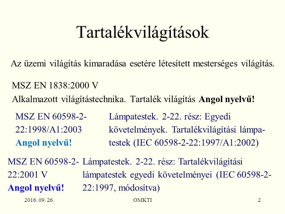 2016. 09. 26.OMKTI2 Tartalékvilágítások MSZ EN 1838:2000 V Alkalmazott világítástechnika.