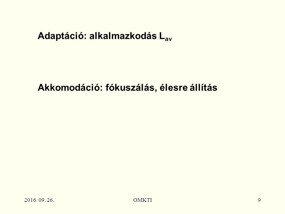 2016. 09. 26.OMKTI9 Adaptáció: alkalmazkodás L av Akkomodáció: fókuszálás, élesre állítás