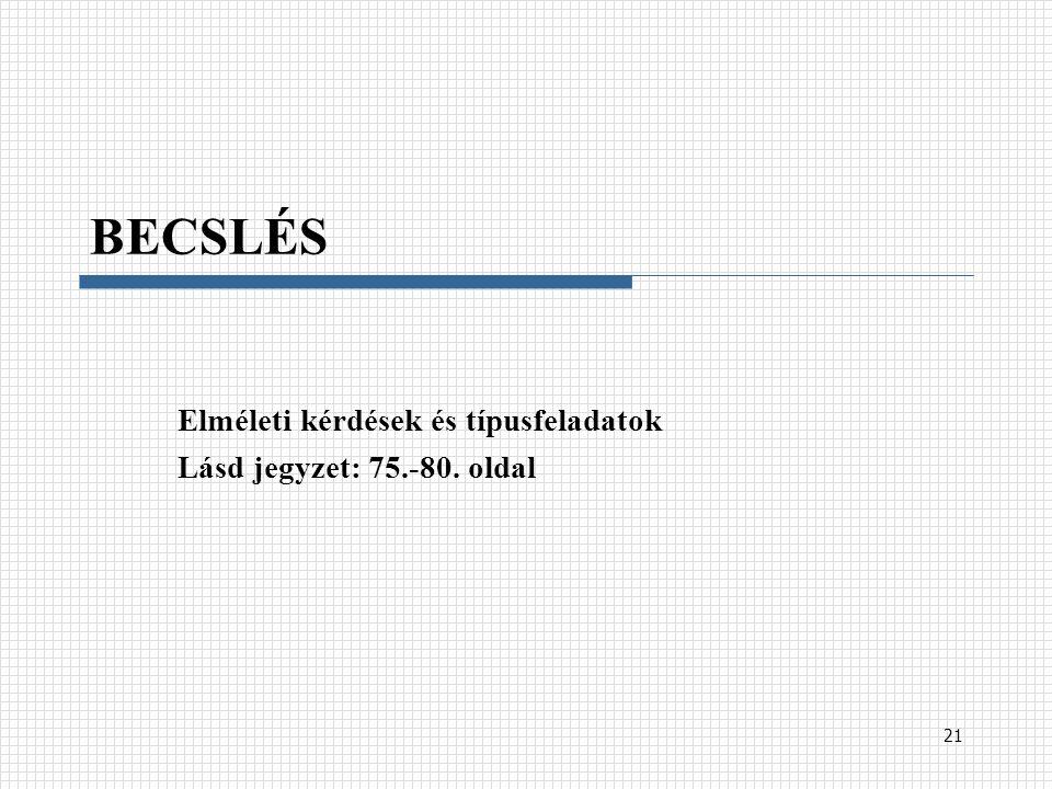 BECSLÉS Elméleti kérdések és típusfeladatok Lásd jegyzet: 75.-80. oldal 21