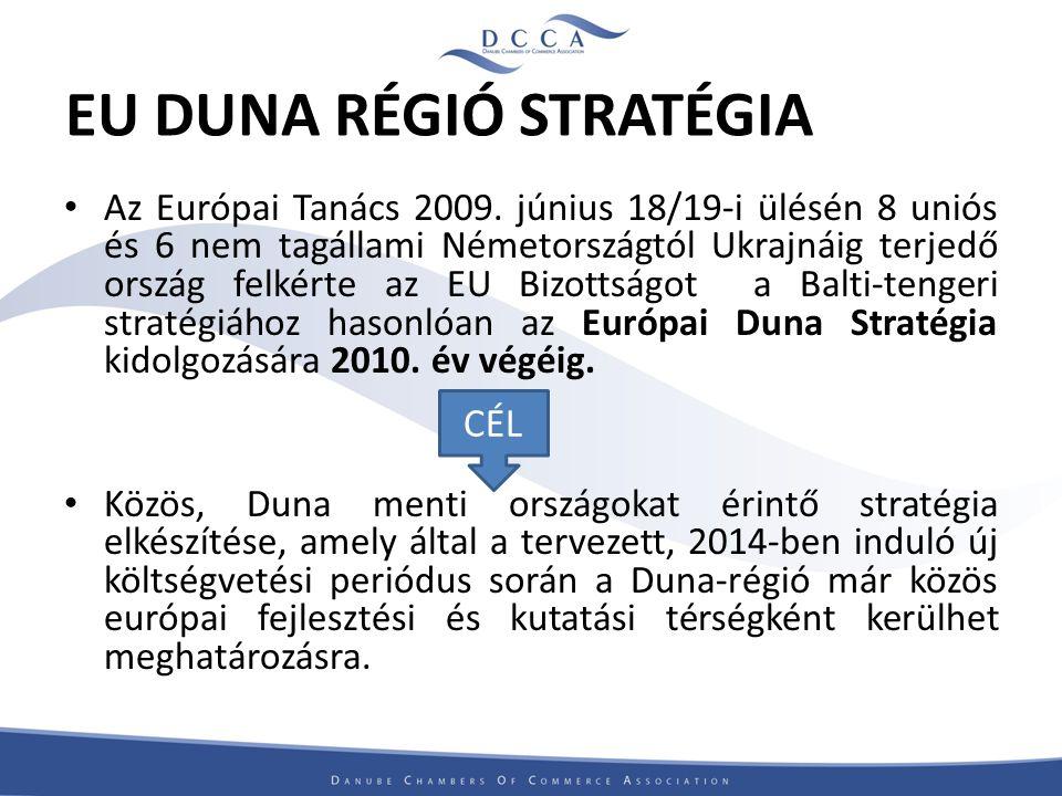 A DCCA távlati céljai Határokon átnyúló együttműködések erősítése mind a régión belül és azon kívül is A Duna régió gazdasági lehetőségeinek bemutatása Európán kívül is A kis- és középvállalkozások versenyképességének növelése Életszínvonal javítása a Duna régióban
