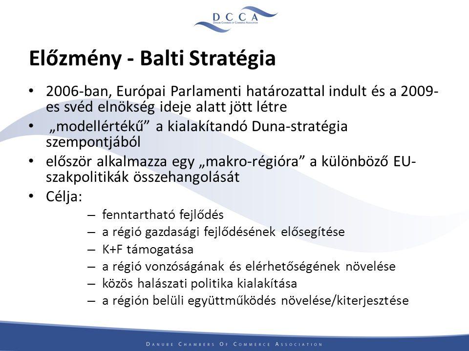 """Előzmény - Balti Stratégia 2006-ban, Európai Parlamenti határozattal indult és a 2009- es svéd elnökség ideje alatt jött létre """"modellértékű a kialakítandó Duna-stratégia szempontjából először alkalmazza egy """"makro-régióra a különböző EU- szakpolitikák összehangolását Célja: – fenntartható fejlődés – a régió gazdasági fejlődésének elősegítése – K+F támogatása – a régió vonzóságának és elérhetőségének növelése – közös halászati politika kialakítása – a régión belüli együttműködés növelése/kiterjesztése"""