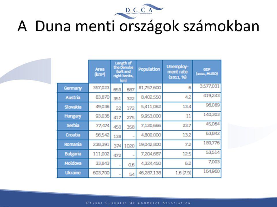 A Duna Régió sajátosságai Európa egyik legjelentősebb régiója Társadalmi, gazdasági, kulturális és földrajzi területen is eltérő fejlettség Eltérő gazdasági potenciál Az egyes országok, más és más ágazatokban tudnak előnyt felmutatni Európán belül jelentős munkaerőbázis ( 150 millió fő)