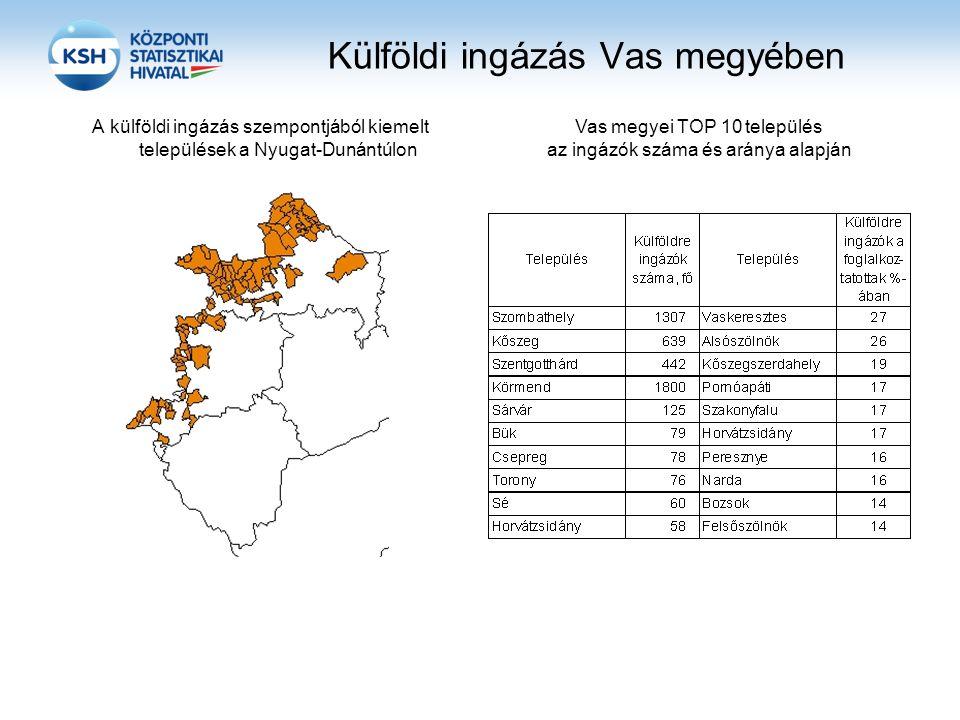 Külföldi ingázás Vas megyében A külföldi ingázás szempontjából kiemelt települések a Nyugat-Dunántúlon Vas megyei TOP 10 település az ingázók száma és aránya alapján