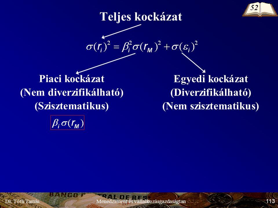 Dr. Tóth Tamás 113 Menedzsment és vállalkozásgazdaságtan Teljes kockázat Piaci kockázat (Nem diverzifikálható) (Szisztematikus) Egyedi kockázat (Diver