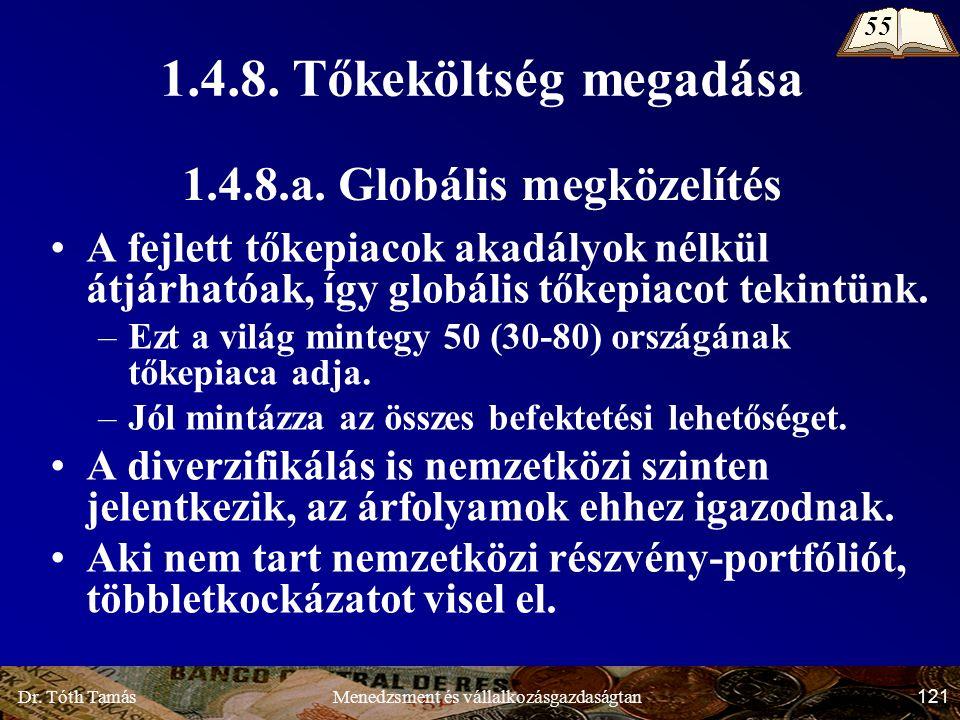 Dr. Tóth Tamás 121 Menedzsment és vállalkozásgazdaságtan 1.4.8.a.