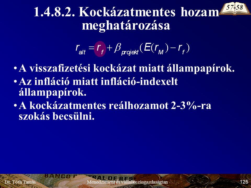 Dr. Tóth Tamás 125 Menedzsment és vállalkozásgazdaságtan A visszafizetési kockázat miatt állampapírok. Az infláció miatt infláció-indexelt állampapíro