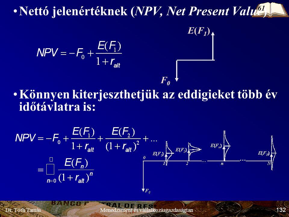 Dr. Tóth Tamás 132 Menedzsment és vállalkozásgazdaságtan Nettó jelenértéknek (NPV, Net Present Value) Könnyen kiterjeszthetjük az eddigieket több év i