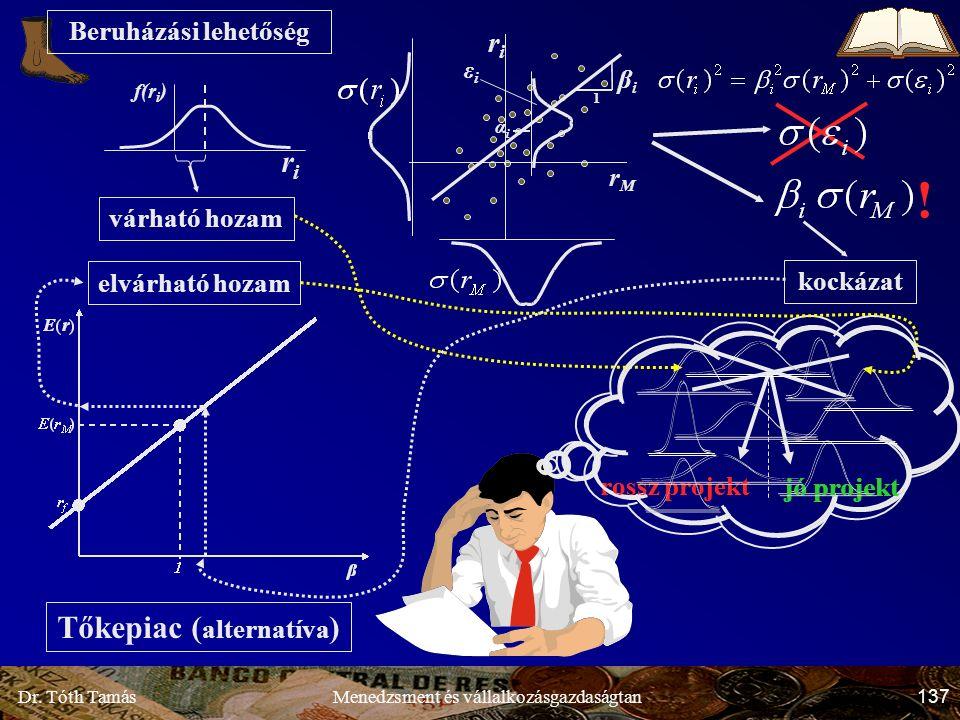 Dr. Tóth Tamás 137 Menedzsment és vállalkozásgazdaságtan Beruházási lehetőség Tőkepiac ( alternatíva ) várható hozam r M r i 1 β i α i ε i kockázat el