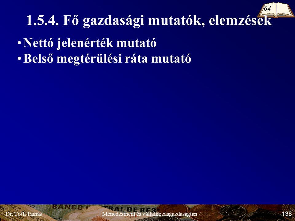 Dr. Tóth Tamás 138 Menedzsment és vállalkozásgazdaságtan 1.5.4.