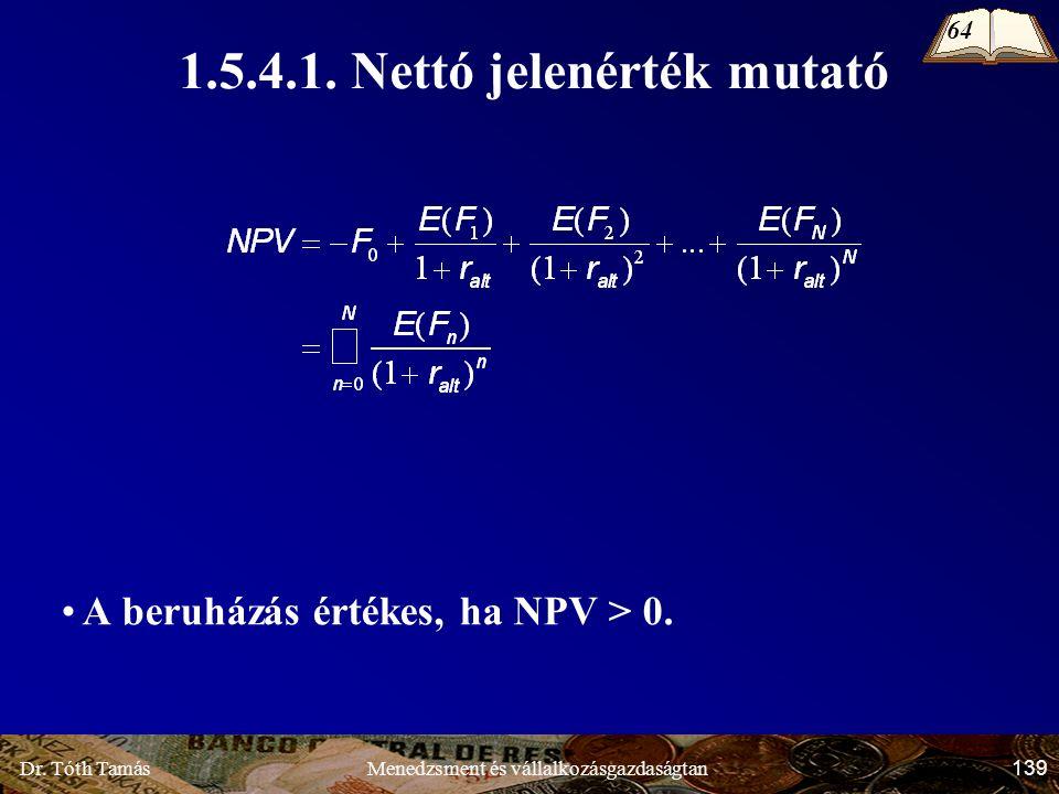 Dr. Tóth Tamás 139 Menedzsment és vállalkozásgazdaságtan 1.5.4.1.