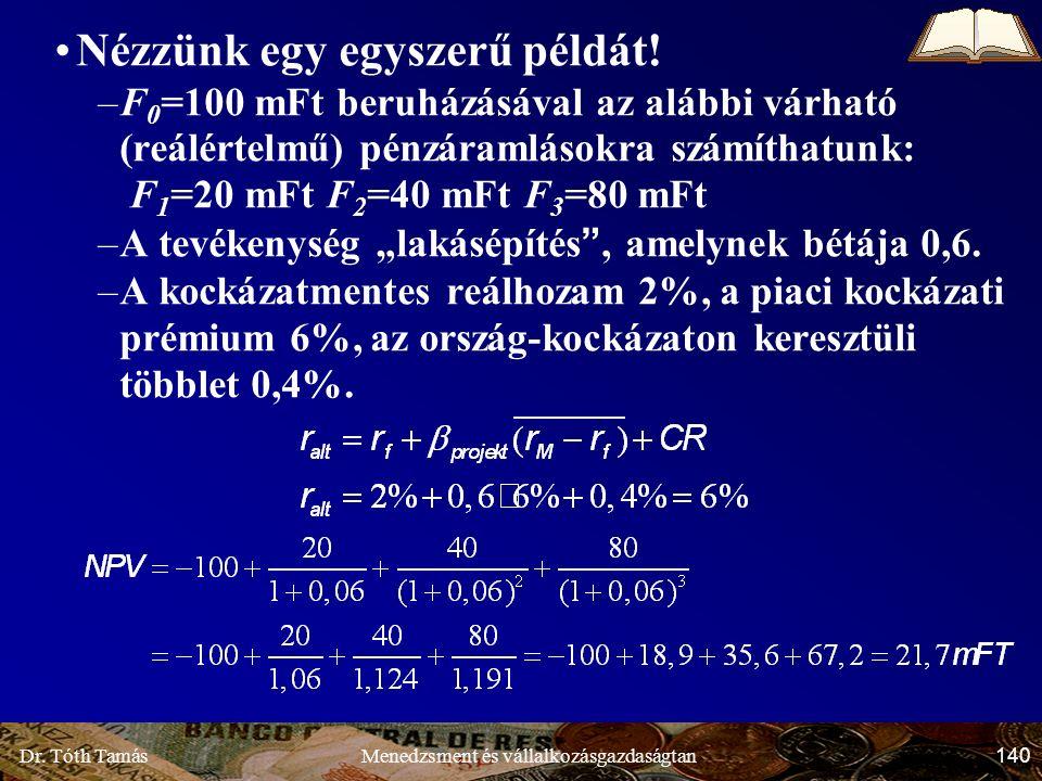 Dr. Tóth Tamás 140 Menedzsment és vállalkozásgazdaságtan Nézzünk egy egyszerű példát.