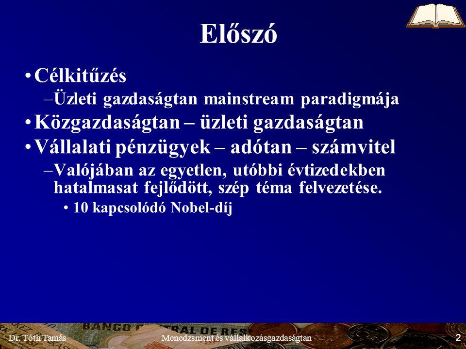 Dr.Tóth Tamás 53 Menedzsment és vállalkozásgazdaságtan 1.3.2.2.