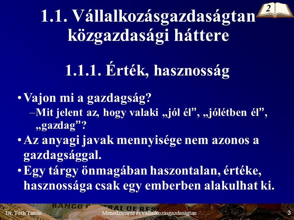 Dr.Tóth Tamás 54 Menedzsment és vállalkozásgazdaságtan 1.3.2.3.