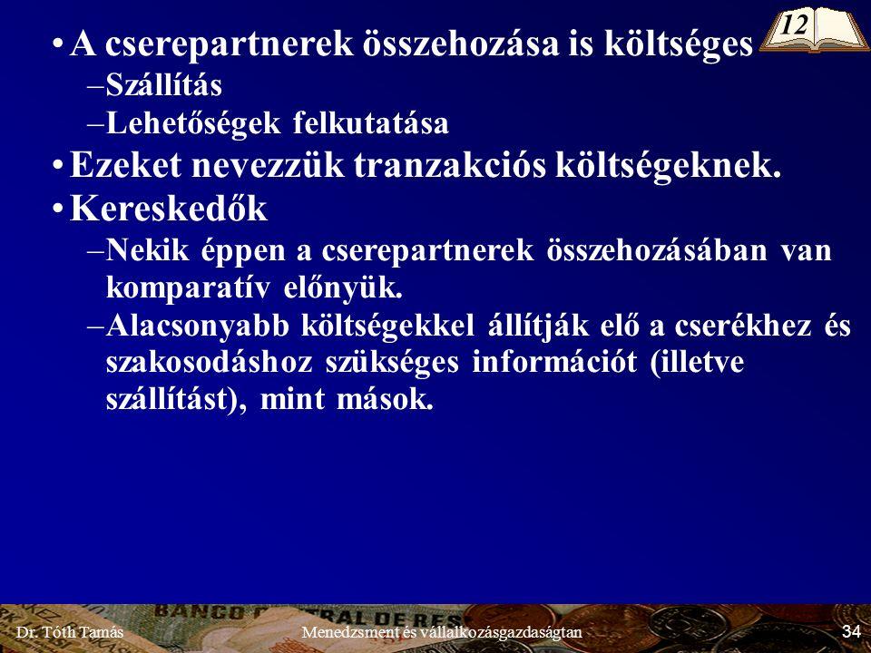 Dr. Tóth Tamás 34 Menedzsment és vállalkozásgazdaságtan A cserepartnerek összehozása is költséges –Szállítás –Lehetőségek felkutatása Ezeket nevezzük