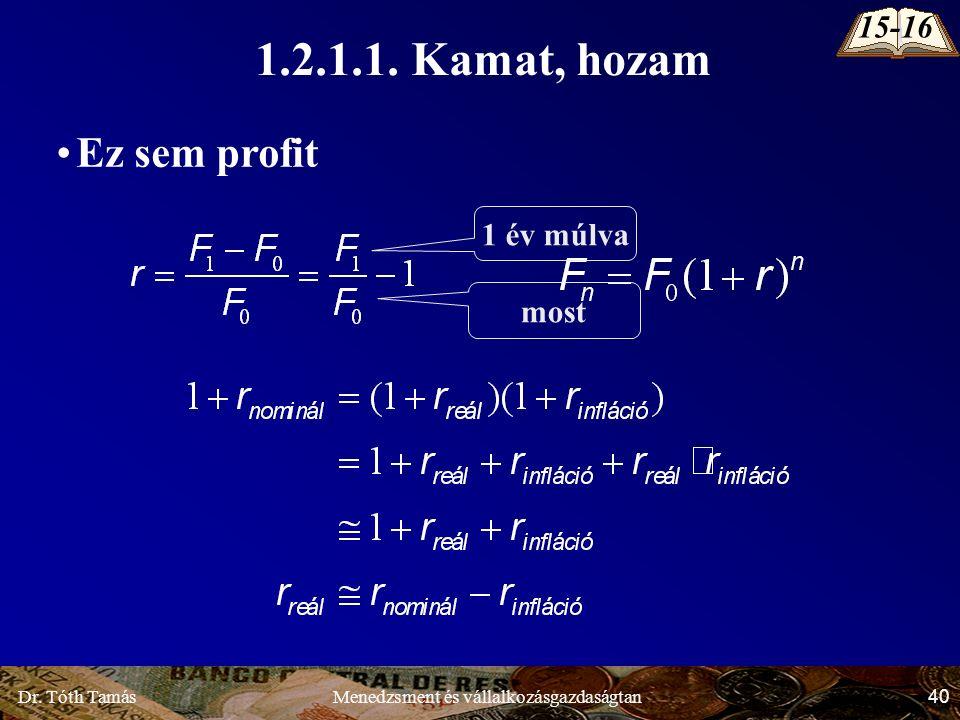 Dr. Tóth Tamás 40 Menedzsment és vállalkozásgazdaságtan Ez sem profit 1 év múlva most 1.2.1.1.