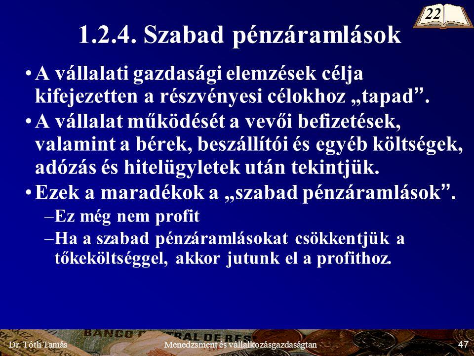 Dr. Tóth Tamás 47 Menedzsment és vállalkozásgazdaságtan 1.2.4.