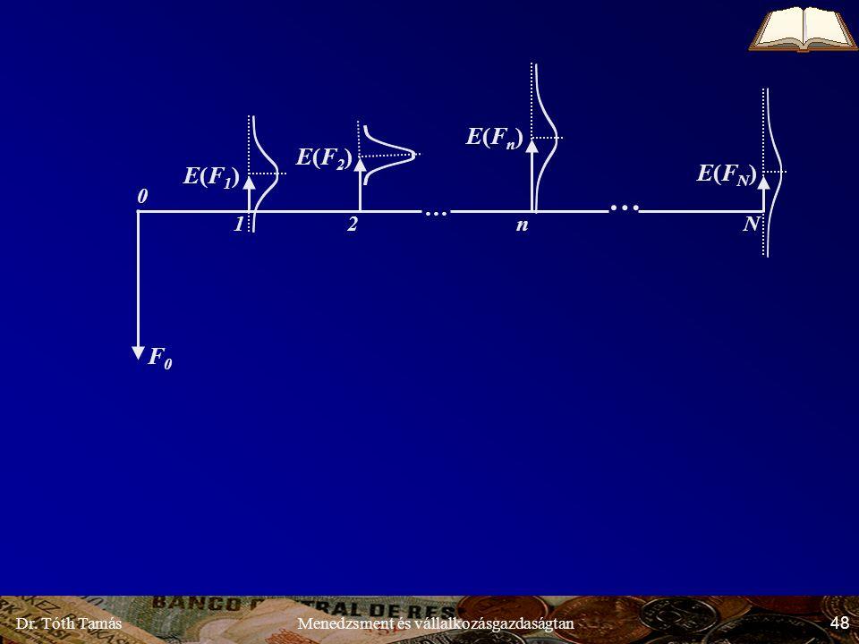 Dr. Tóth Tamás 48 Menedzsment és vállalkozásgazdaságtan E(F1)E(F1) E(F2)E(F2) E(Fn)E(Fn) E(FN)E(FN) F0F0 … … Nn21 0