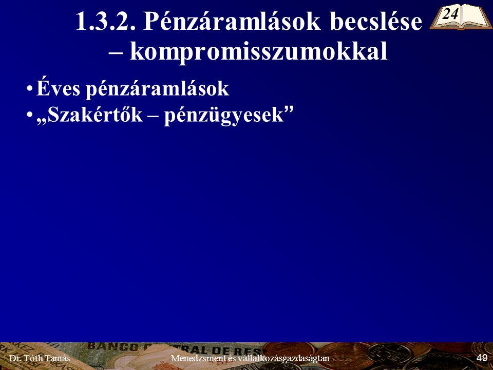 Dr.Tóth Tamás 49 Menedzsment és vállalkozásgazdaságtan 1.3.2.