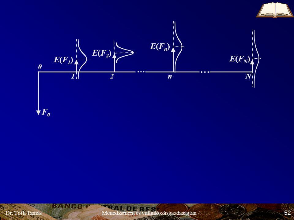 Dr. Tóth Tamás 52 Menedzsment és vállalkozásgazdaságtan E(F1)E(F1) E(F2)E(F2) E(Fn)E(Fn) E(FN)E(FN) F0F0 … … Nn21 0