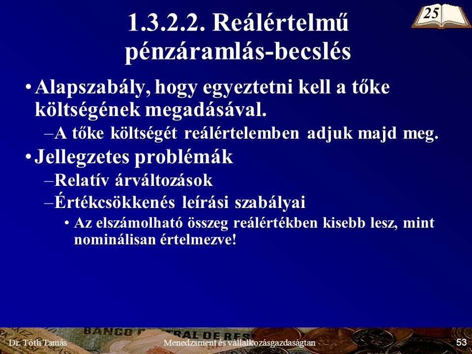 Dr. Tóth Tamás 53 Menedzsment és vállalkozásgazdaságtan 1.3.2.2.