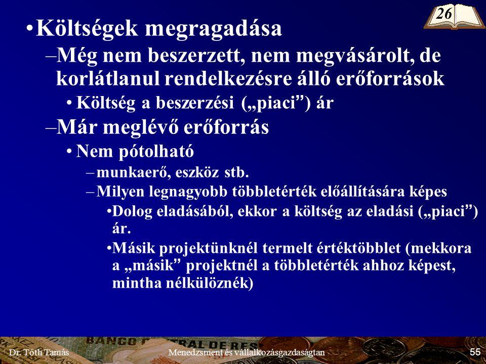 Dr. Tóth Tamás 55 Menedzsment és vállalkozásgazdaságtan Költségek megragadása –Még nem beszerzett, nem megvásárolt, de korlátlanul rendelkezésre álló