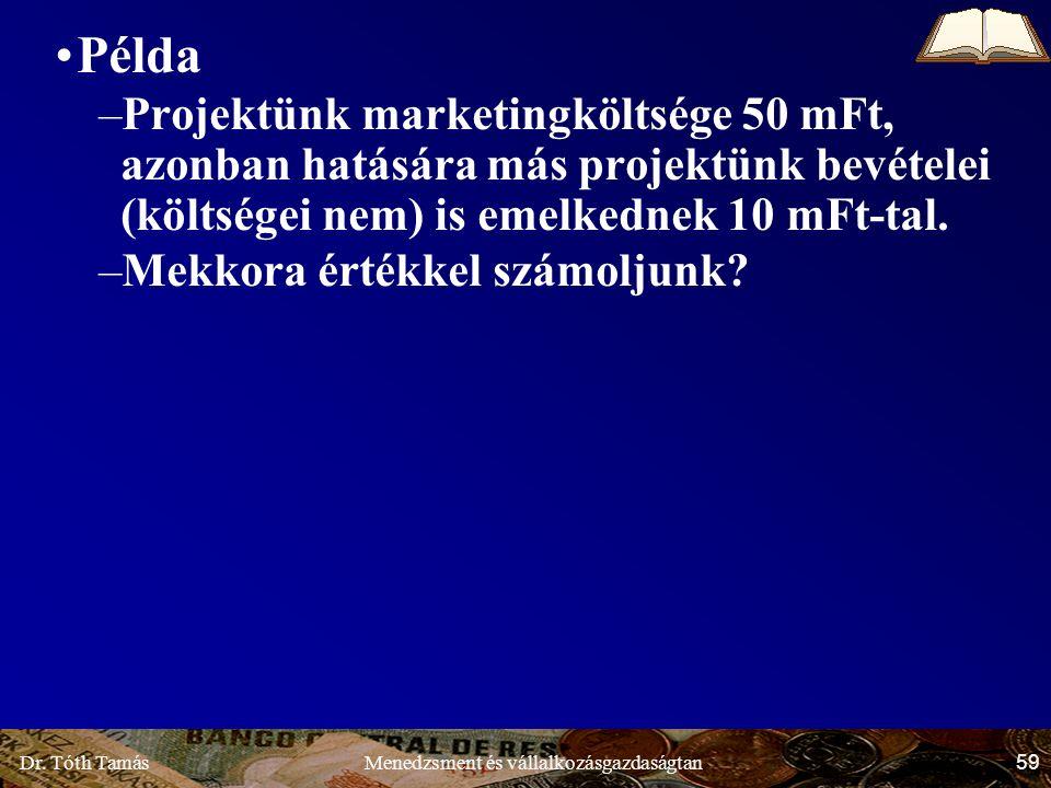 Dr. Tóth Tamás 59 Menedzsment és vállalkozásgazdaságtan Példa –Projektünk marketingköltsége 50 mFt, azonban hatására más projektünk bevételei (költség