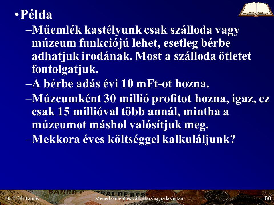 Dr. Tóth Tamás 60 Menedzsment és vállalkozásgazdaságtan Példa –Műemlék kastélyunk csak szálloda vagy múzeum funkciójú lehet, esetleg bérbe adhatjuk ir