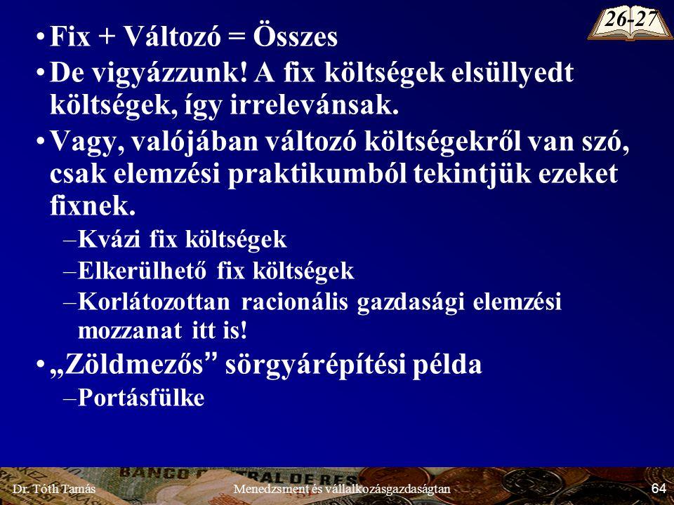 Dr.Tóth Tamás 64 Menedzsment és vállalkozásgazdaságtan Fix + Változó = Összes De vigyázzunk.