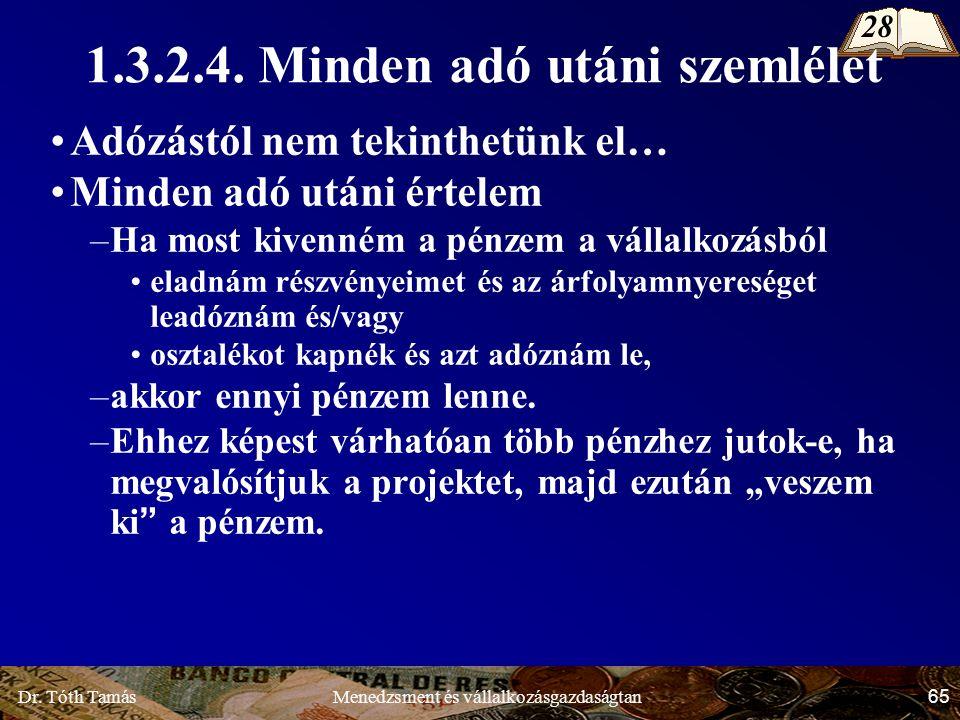 Dr. Tóth Tamás 65 Menedzsment és vállalkozásgazdaságtan 1.3.2.4.