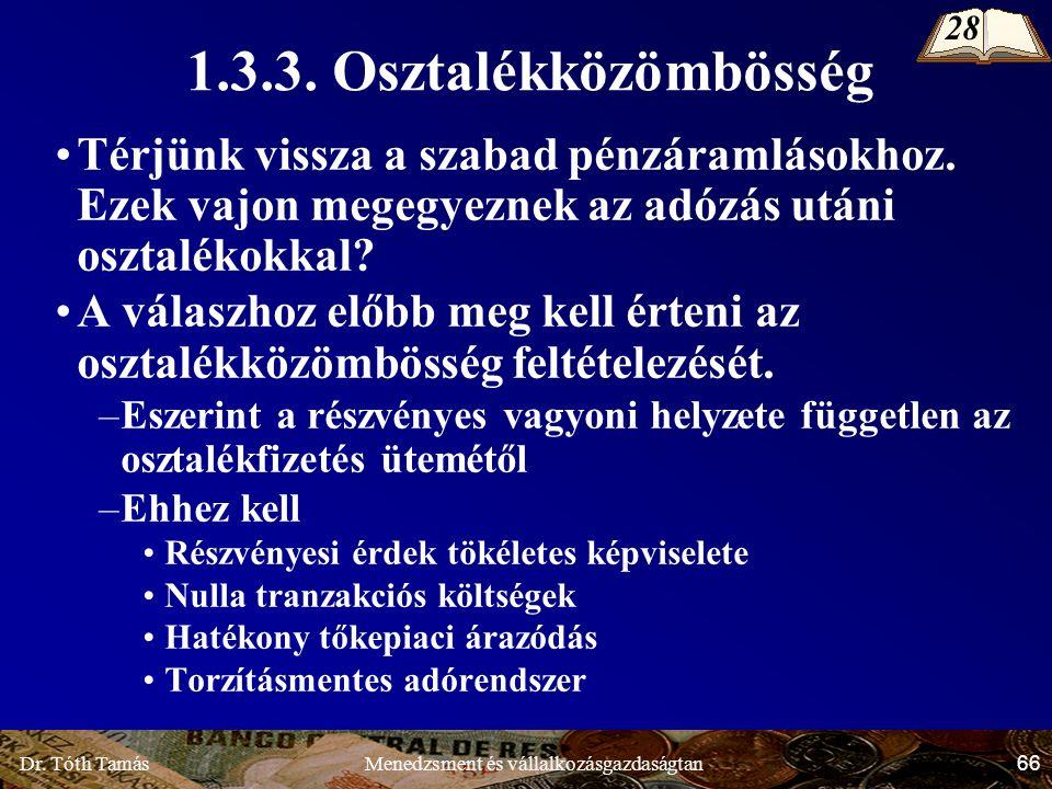 Dr. Tóth Tamás 66 Menedzsment és vállalkozásgazdaságtan 1.3.3.