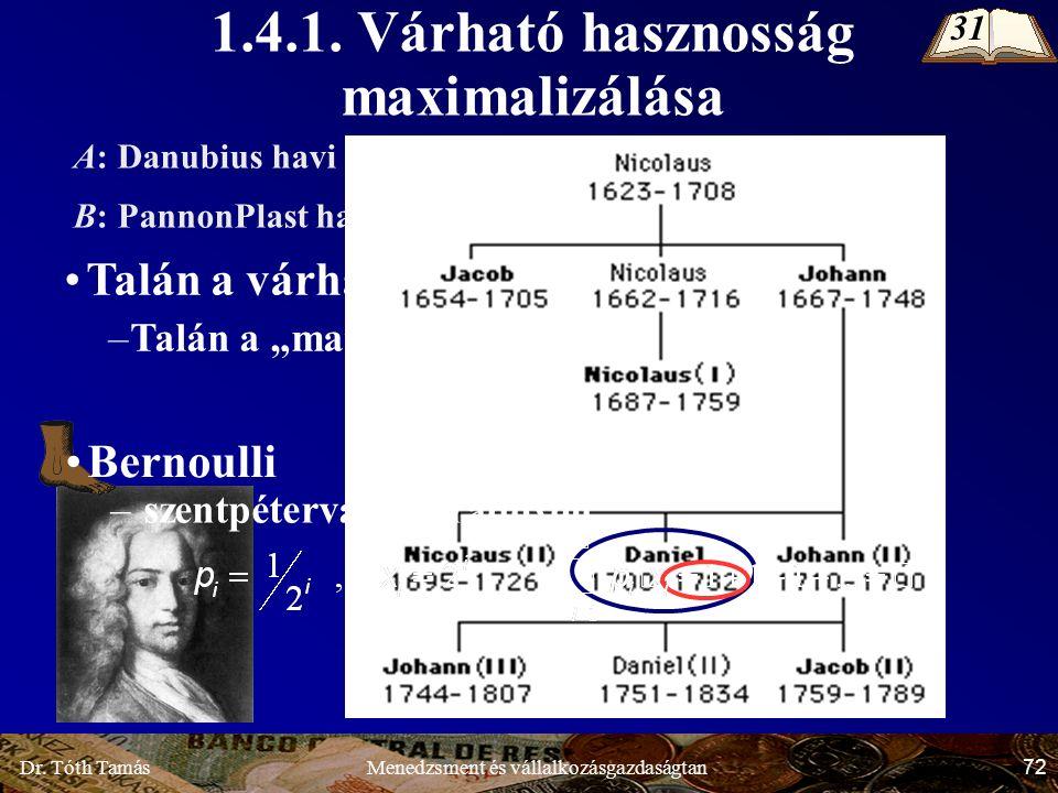 Dr. Tóth Tamás 72 Menedzsment és vállalkozásgazdaságtan 1.4.1.