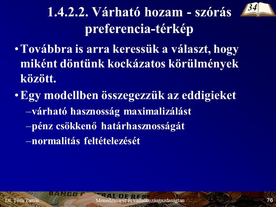 Dr. Tóth Tamás 76 Menedzsment és vállalkozásgazdaságtan 1.4.2.2.