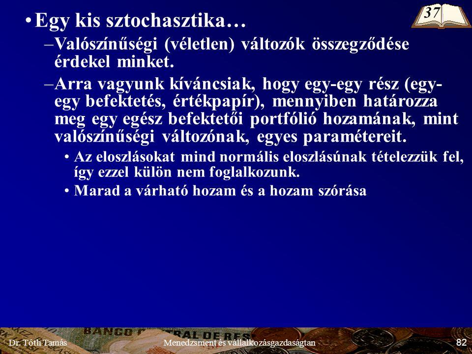 Dr. Tóth Tamás 82 Menedzsment és vállalkozásgazdaságtan Egy kis sztochasztika… –Valószínűségi (véletlen) változók összegződése érdekel minket. –Arra v