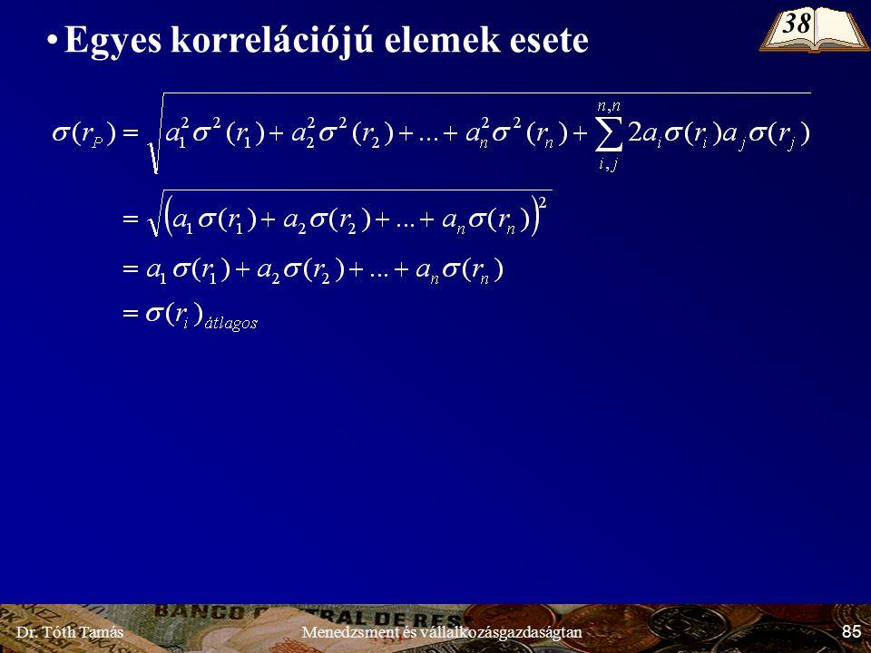 Dr. Tóth Tamás 85 Menedzsment és vállalkozásgazdaságtan Egyes korrelációjú elemek esete 38