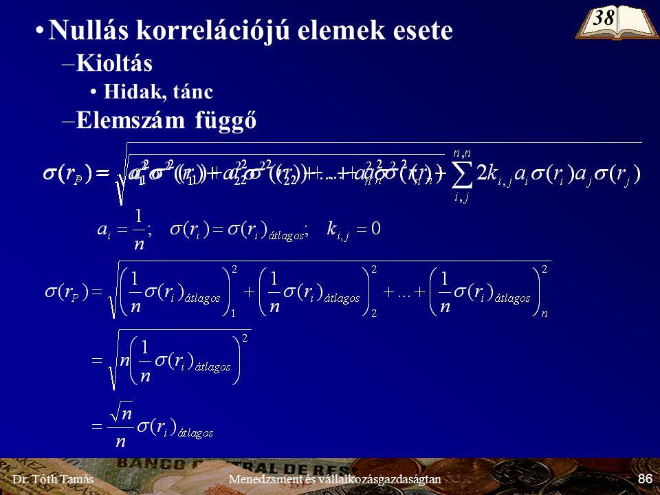 Dr. Tóth Tamás 86 Menedzsment és vállalkozásgazdaságtan Nullás korrelációjú elemek esete –Kioltás Hidak, tánc –Elemszám függő 38