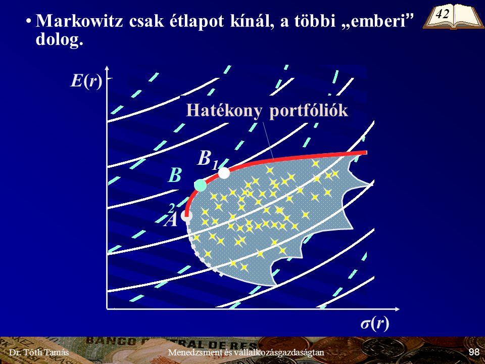 """Dr. Tóth Tamás 98 Menedzsment és vállalkozásgazdaságtan σ(r)σ(r) E(r)E(r) A B1B1 B2B2 Markowitz csak étlapot kínál, a többi """"emberi"""" dolog. Hatékony p"""