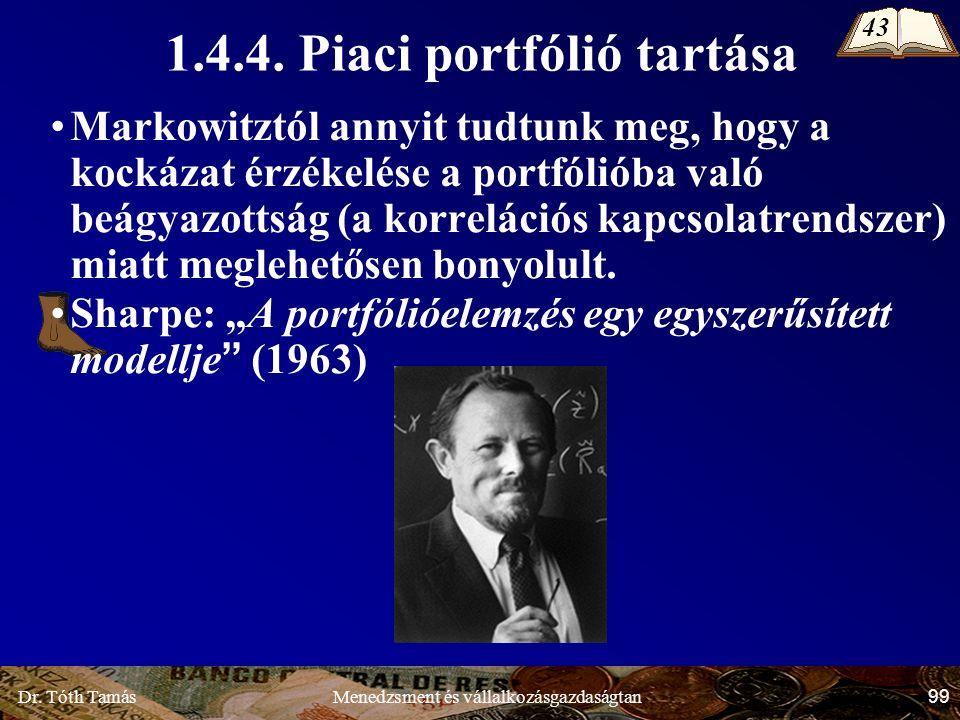 Dr. Tóth Tamás 99 Menedzsment és vállalkozásgazdaságtan Markowitztól annyit tudtunk meg, hogy a kockázat érzékelése a portfólióba való beágyazottság (
