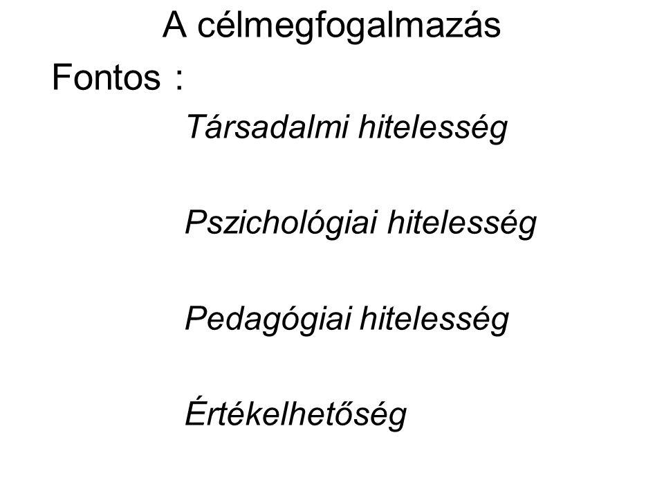 A célmegfogalmazás Fontos : Társadalmi hitelesség Pszichológiai hitelesség Pedagógiai hitelesség Értékelhetőség