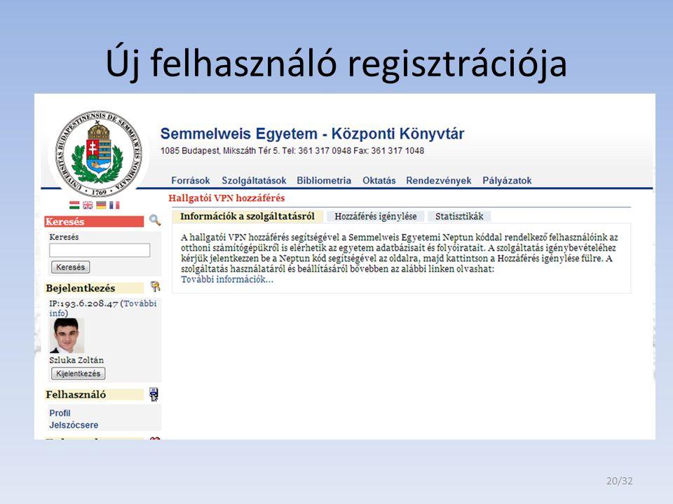 Új felhasználó regisztrációja 20/32