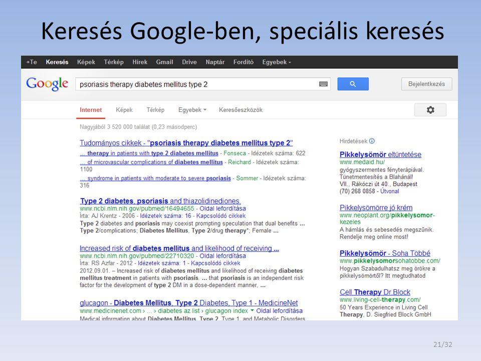 Keresés Google-ben, speciális keresés 21/32