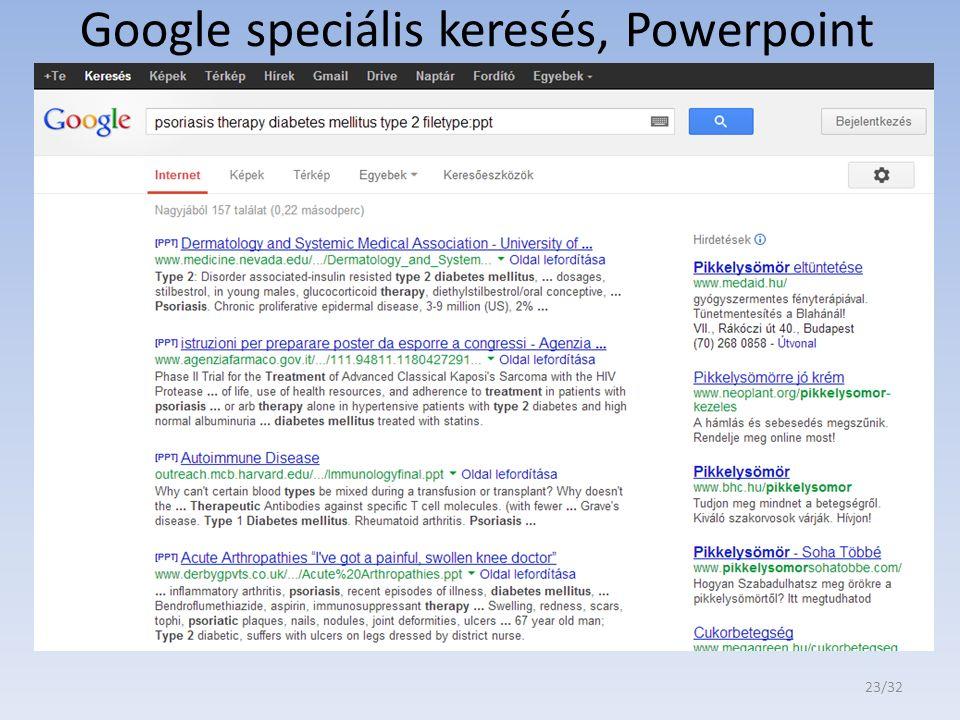Google speciális keresés, Powerpoint prezentációk 23/32