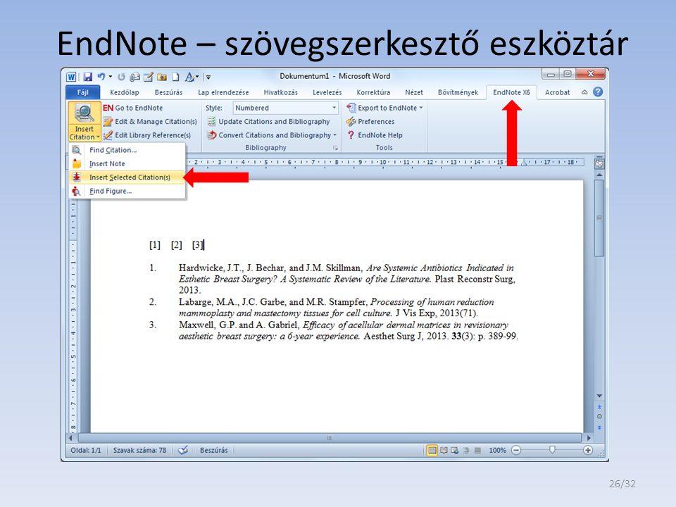 EndNote – szövegszerkesztő eszköztár 26/32