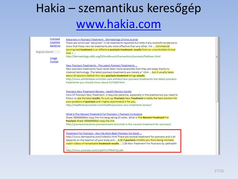 Hakia – szemantikus keresőgép www.hakia.com www.hakia.com 27/32